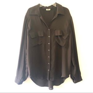 L'AGENCE Gia Snap Front Brown Silk Blouse Size L